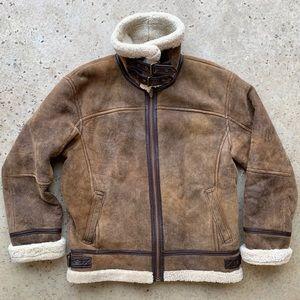 Vintage B-3 Bomber Shearling Leather Sherpa Jacket